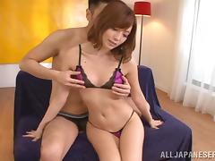 Adorable Rina Katoh gets her pussy fingered and toyed