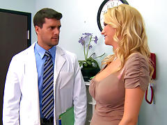 Pretty fake-tit blonde is fucking with a doctor porn tube video