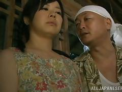 Japanese country girl gets fucked by an older man in a shed