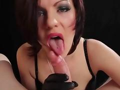 Hot Euro Babe Smoking BJ and HJ in Leather Gloves tube porn video