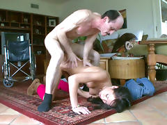 Dark-haired babe gives a cute sloppy blowjob