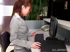 Nasty Japanese chick shows her tits and pussy to her colleague
