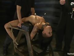 Maestro and his buddy torment and mouth-fuck Skin Diamond in BDSM scene
