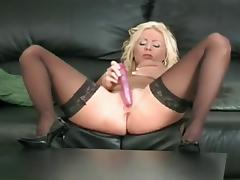 Black Thigh Highs And Heels On This Masturbating Blonde
