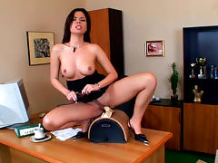 Secretary takes off her dark dress