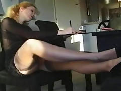 Office, Blonde, Feet, Fetish, Nylon, Office