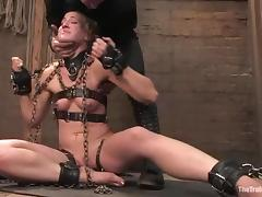 Dylan Ryan gets her mouth and twat pounded by Maestro in BDSM clip