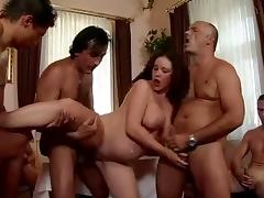 Pregnant slut gets fucked by a few horny dudes indoors porn tube video