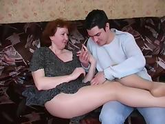 Russian mature mom in pantyhose and her boy! Amateur! tube porn video
