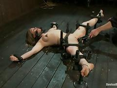 Bounded Busty Babe Lindsey Grant Toyed for Orgasm in BDSM Vid