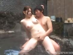 Bosomy Japanese cutie gets fucked by her BF outdoors