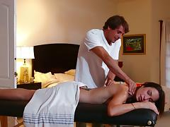 Amber Rain gets mouth fucked and facialed by a masseur and enjoys it