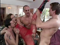 Cheating wife Mandy double penetrated in red bodystocking