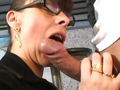 Latina milf with glasses stuffed with cock