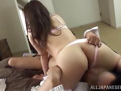 Japanese girl in lingerie sucks a cock and rides a cock