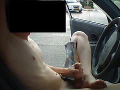 twink jacks off in parked car porn tube video