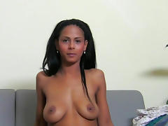 Tanned lady fuck in her face with a cute dick
