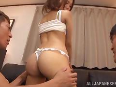 Yukina Momota sucks dicks and gets nailed in a threesome