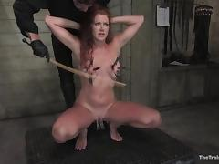 Curly Sabrina Fox suck a cock and gets her pussy tortured