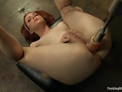 Sexy redhead feels how machine makes her cunt wet! tube porn video