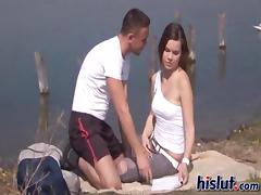 Slut by the lake just had to try the dick