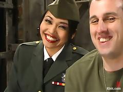Asian girl in military uniform spanks a guy and sits on his face porn tube video