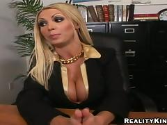 Nikki Benz gets her snatch licked and fucked in an office tube porn video