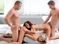 Pretty spicy lesbians are sucking two dicks