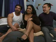 Busty tranny TS Doll fucks Vince Ferelli and his BF