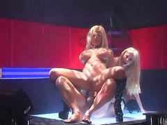 2 sexy strippers suck and ride the same hard cock