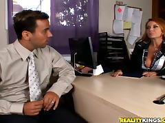 Redhead Janet Mason rides big dick and gets massive facial tube porn video