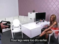 Hot brunette licks pussy to female boss