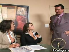 Office, Big Tits, Blowjob, Brunette, Doggystyle, Ffm