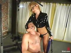 Blonde Dominatrix Humiliates Guy in the Gym in Femdom Vid
