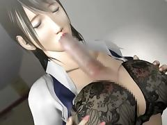 Busty anime brunette riding a large starved pecker