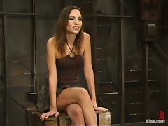 Gorgeous brunette siren Amber Rayne is being tortured and fucked