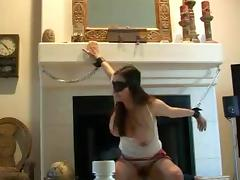 Blindfolded girl use