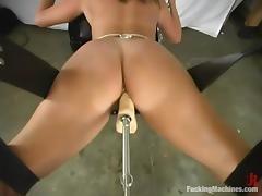Hot girl with bikini tan lines gets toyed deep in her ass