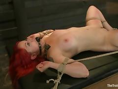 Redhead Sloane Soleil gets tied up and hit by electricity