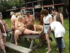 Oldies outdoor orgy tube porn video