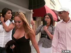 Crazy girls give a blowjob right in a the street in TV show porn tube video