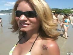 Slender blond milf from Brazil is loving it big