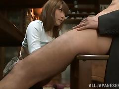 Busty Honami Uehara gives a titjob and a blowjob in POV