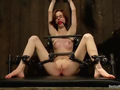 Small Boobed Jay Taylor Bounded and Toyed in BDSM Clip