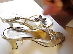 High Heels Gold Sandals cum porn tube video