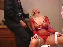 Chick in fishnet fuck with her boss in BDSM style tube porn video