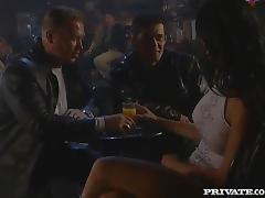 Double penetration with a filthy brunette in the smoky bar porn tube video