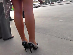 Sweet babe being upskirted on the hidden camera
