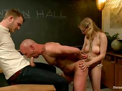 Guy Sucks Cock while Getting Ass Fucked by Girl's Strapon in Classroom