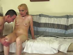 Slutty blonde granny has wild sex with younger guy tube porn video